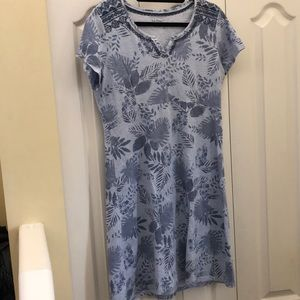 LL bean cotton leave print dress